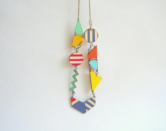 Bohemian Geometric Necklace, Wood Handpainted  necklace,Wood Tribal Necklace,Geometric Jewelry