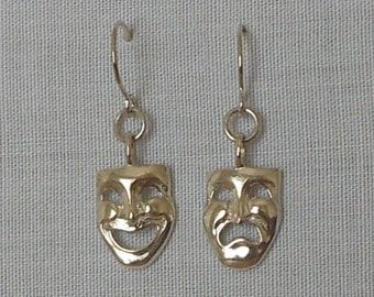 Sterling silver theater mask earrings