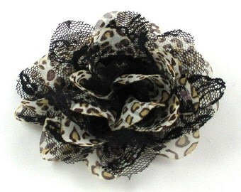 "Black Leopard - Set of 3 Large 4"" Chiffon & Lace Flowers - CLF-028"