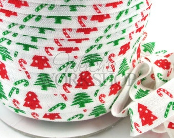 "Christmas Trees & Candy Canes - 5 Yards Printed FOE - 5/8"" Fold Over Elastic - 5/8-P-298"