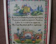 Vintage Stitchery Print Wood Framed chippy paint Inspirational Poem Building Castles Shabby cottage
