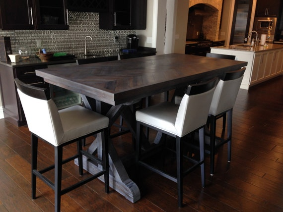 Chevron style trestle leg wood dining table w gray milk paint for Dining room tables etsy