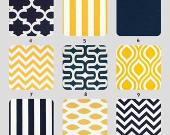Decorative Throw Pillow Cover One Accent Pillows Navy and Yellow Pillow Covers All Sizes