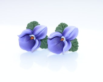 Viola flower earrings; sterling silver studs