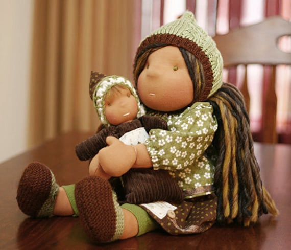Waldorf inspired cloth doll 20 inches & her dolly