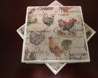 Ceramic Tile Resin Coaster Set: Rooster and Hens (Set of 4)/Resin Coasters/Rooster coasters/country coasters/Farm decor