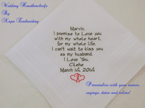 Etsy Wedding Gift For Groom : Wedding Gifts for Fiance Embroidered Personalized Handkerchief for ...