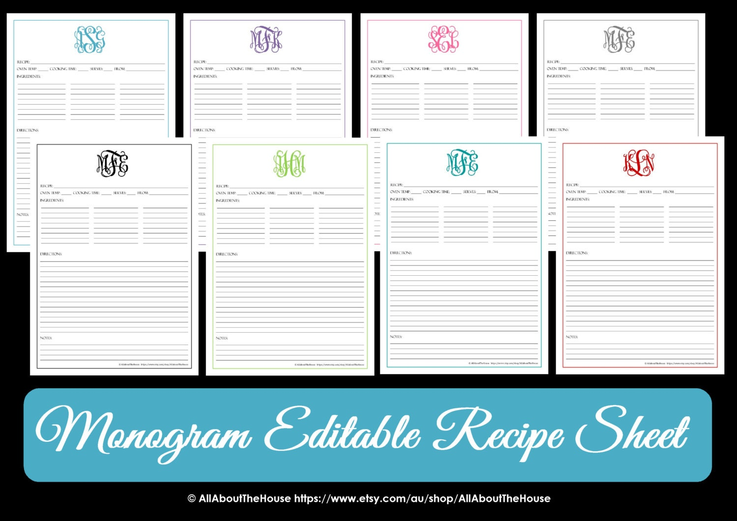 monogram recipe sheet editable recipe card preppy template. Black Bedroom Furniture Sets. Home Design Ideas