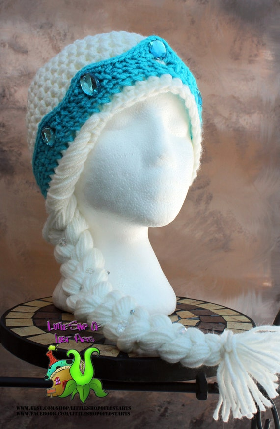 Knitting Pattern For Elsa Hat : Thick Double threaded Elsa inspired hat from Frozen MADE TO