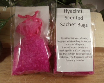 Hyacinth Scented Sachet Bag - Complex Floral Scent -Great for Drawers, Closets, Luggage, Workout Bags- Hostess Gifts-Bidal -Shower Gifts