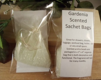 Gardenia Scented Sachet Bag - Wonderful Floral Scent -Great for Drawers, Closets, Luggage, Workout Bags- Hostess Gifts-Shower Gifts