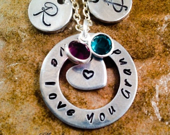Personalized Mom, Grandma, Aunt Necklace, We, I Love You Mom, Grandma Necklace, Hand Stamped Jewelry, Aluminum Jewelry