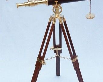 """45"""" Floor Standing Brass & Leather Telescope"""