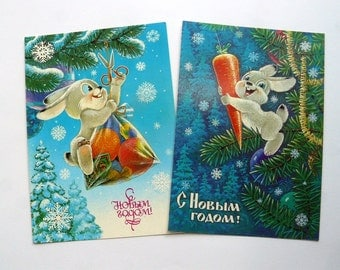 Soviet postcards, Set of 2 Russian Happy New Year Greeting Card with Bunny, Rabbit , unused, made in USSR, Soviet era, 80-s