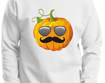 Aviators and Mustache Jack O'Lantern Halloween Premium Crewneck Sweatshirt F260 - HW-129