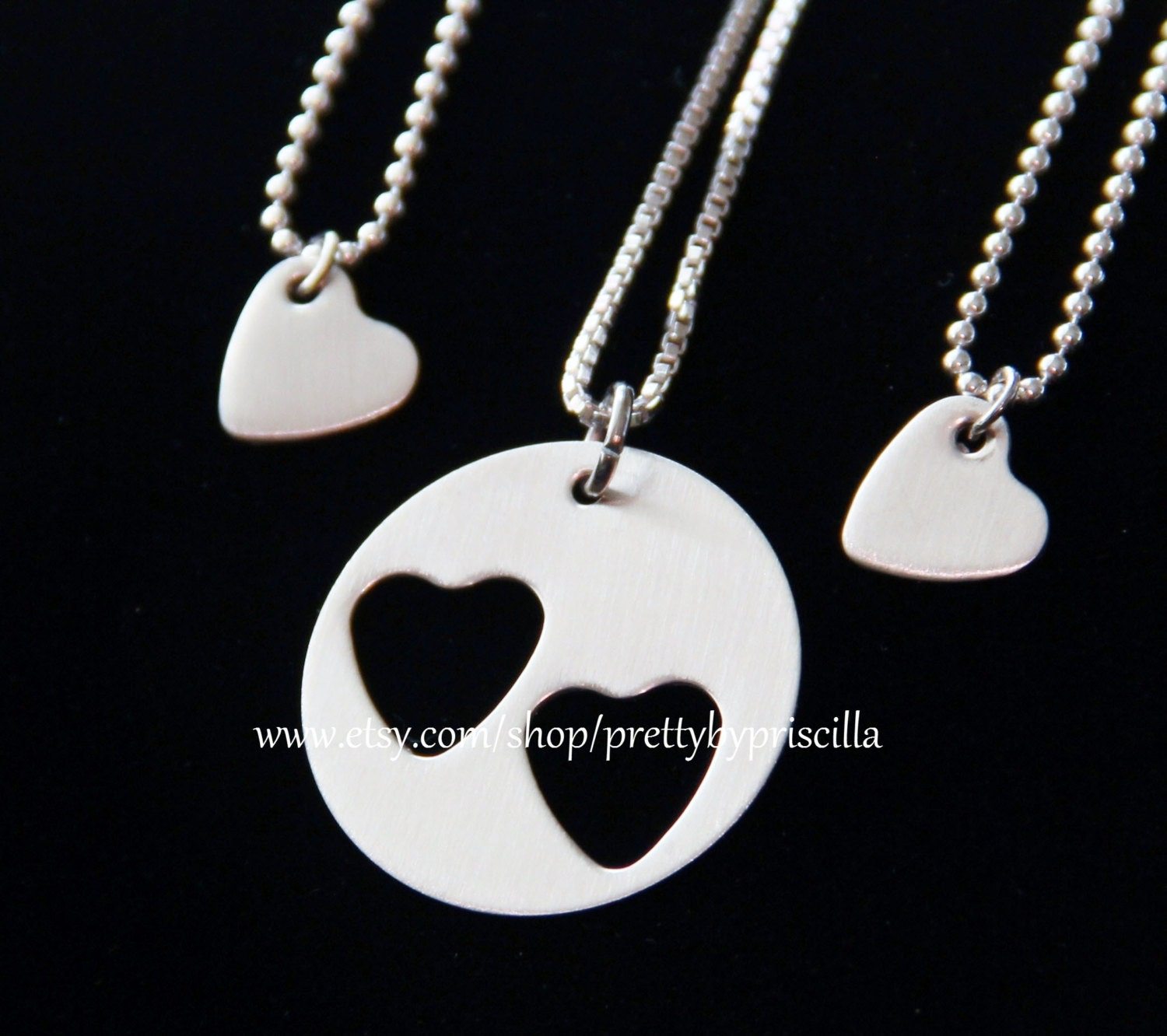 Mothers Day Gift-Mother Daughter Jewelry STERLING SILVER Heart