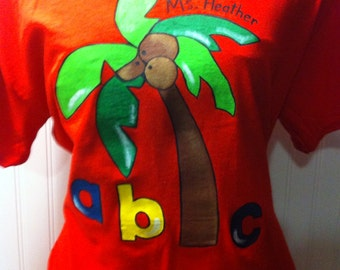 Chicka chicka boom boom - hand painted and personalized T shirt with free shipping