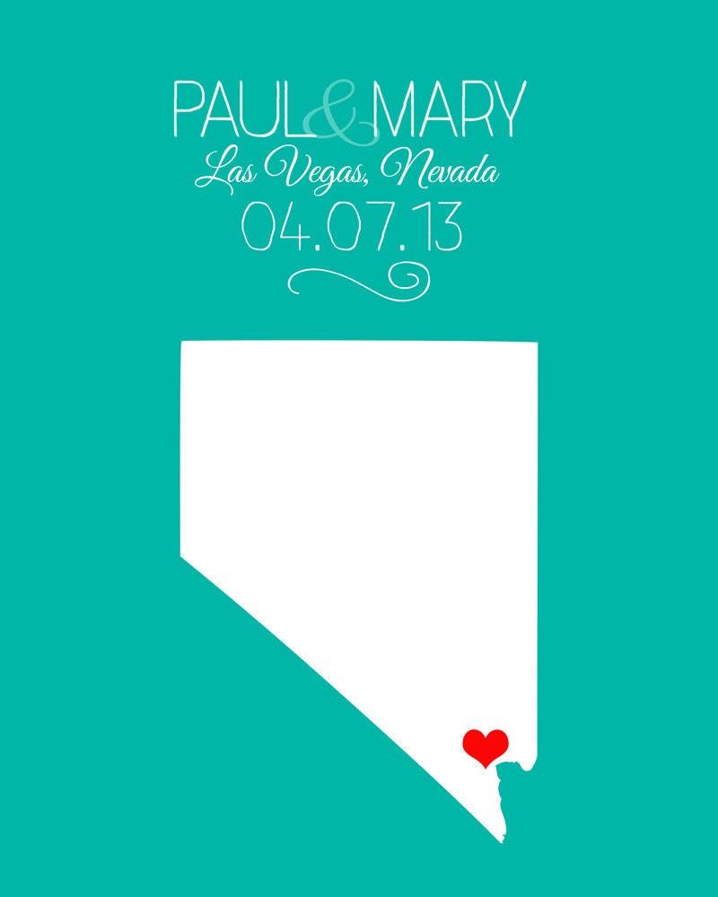 Las Vegas Wedding Gifts: Las Vegas Wedding Gift Custom Art Print Names By