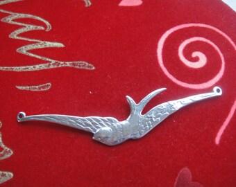 925 sterling silver oxidized large flying birdcharm or connector, silver sparrow bird, silver bird, bird