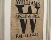 Burlap,Burlap Print,Burlap Monogram,Burlap Wedding Gift,Burlap Art,Save the Date,Burlap Est. Date,Marriage Date,Burlap,Burlap Initial