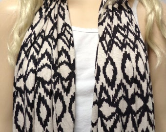 IKAT Print -Black & tan Infinity Scarf  Super SOFT Jersey Knit