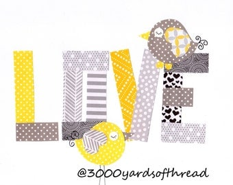 Love with Birds Nursery Artwork Print Baby Room Decoration Kids Room Wall Art Yellow and Gray Nursery Gifts Under 20 Baby Shower