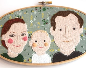 family portrait personalized for 3 persons custom portrait embroidery hoop