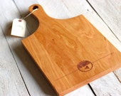 Handle Cutting Board - City State Rustic Modern Custom Personalized Platter Tray