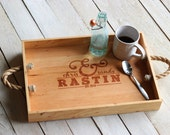 Custom Personalized Ampersand Design Wood Serving Tray - Engraved Name and Rustic Rope Handles