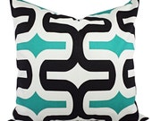 Two Decorative Pillow Covers Jade Green Black and White - Green Throw Pillow - Geometric Pillow Cover - Premier Prints Embrace Pillow