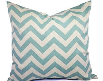 Two Pillow Covers - Spa Blue Chevron Decorative Pillow Covers - Light Blue and Beige Pillow - Throw Pillow Cushion Cover Accent Pillow
