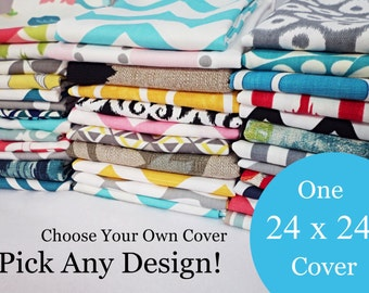 24 x 24 Pillow Cover - One Pillow Cover - Choose Your Own Design - Single Pillow  Cover -