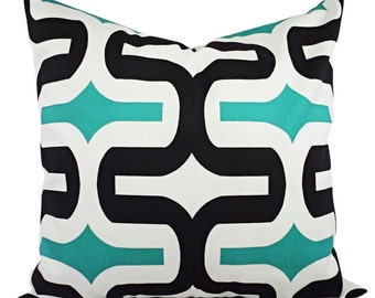 Two Decorative Pillow Covers Jade Green Black and White - Throw Pillow - Geometric Pillow Cover - Premier Prints Embrace Pillow