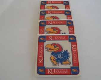 Jayhawk coasters - set of 4