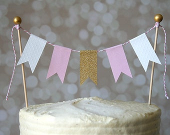 Gold Glitter, Blush Pink, Warm White Cake Bunting Pennant Flag Cake Topper-MANY Colors to Choose From  Birthday, Wedding, Shower Cake Topper