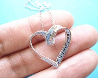 """Sterling silver """"best friends"""" open heart necklace...engraved simple everyday jewelry, bridesmaid, best friends, birthday, sister's gift"""