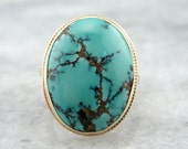 Fine Turquoise in Vintage Gold Ladies Cocktail Ring Setting 5RQ9V2-P