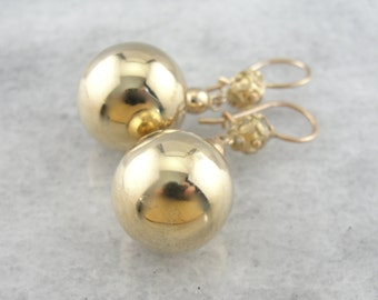 Sophisticated and Luxurious, Large Yellow Gold Ball Drop Earrings F0P3HP-N