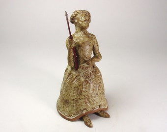 Athena Goddess Stoneware Pottery Altar Table Bell with Dogwood Spear