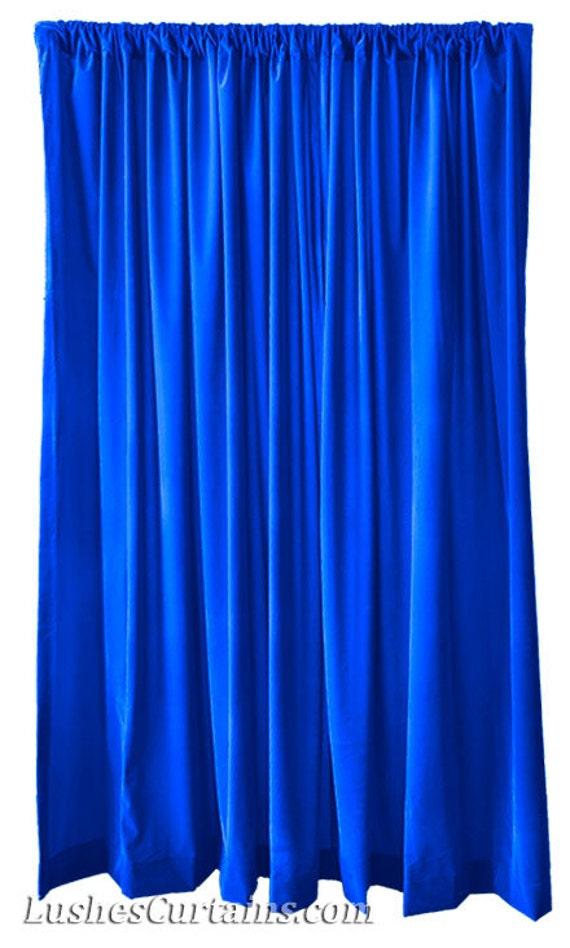 Royal Blue Flocked Velvet 120 High Curtain Long Panel