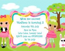 Lalaloopsy inspired invitation personalized, Girls Invitation, Ragdoll invitation, girls party, kids invitation