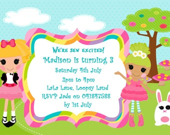 Lalaloopsy inspired invitation personalized, Girls Invitation, Ragdoll invitation, girls party, kids invitation