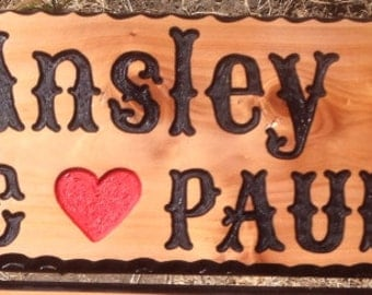 Custom Hand Carved Signs.  1 - 2 Lines with Graphic