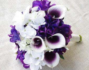 Wedding Bouquet Off White and Purple Hydrangeas and Calla Lilies Silk Flower Bride Bouquet - Almost Fresh
