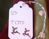 Reindeer Gift Tags, Christmas Gift Tags. Set of 12