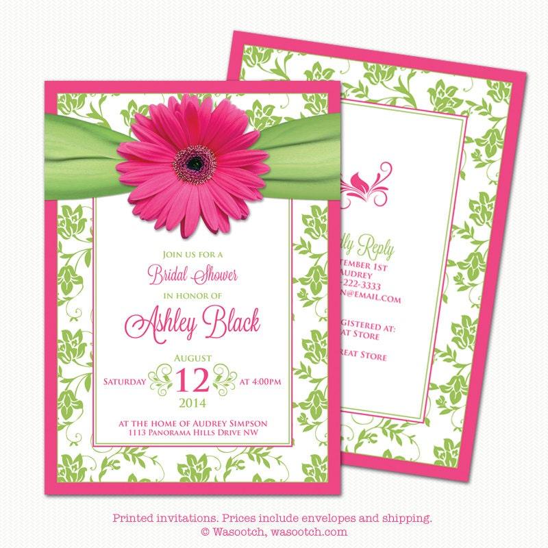 Hot Pink Gerbera Daisy White Wedding Invitation 5 X 7: Bridal Shower Invitations Gerber Daisy Pink Green Floral