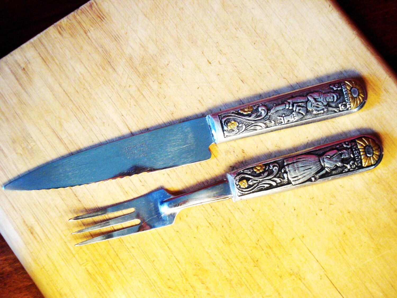 knife and fork set in case vintage argentina inox stainless. Black Bedroom Furniture Sets. Home Design Ideas