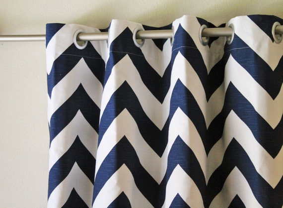 pair 25 wide navy blue and white big zippy chevron