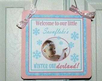 Winter Wonderland Birthday Party- Welcome Door Sign- Winter Wonderland Birthday Party