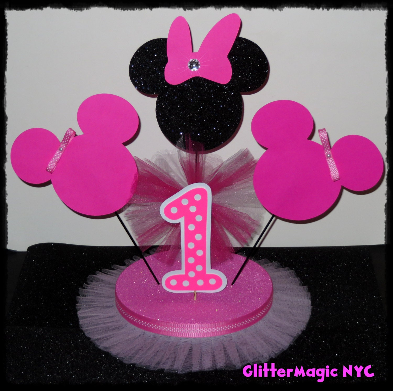 SET DE 2 Minnie Mouse Centro de Mesa por GlitterMagic23s en Etsy